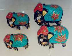 Wooden Elephant Set With Stone Work