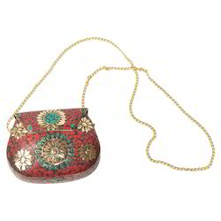 Brass Bag With Gemstone Work