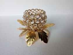 Aluminium Flower Crystal Candle Holder