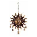 Wind Chime Sun Design Iron Sheet Antique Finish with Iron Bells