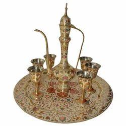 Brass Surai Set With Flower Design