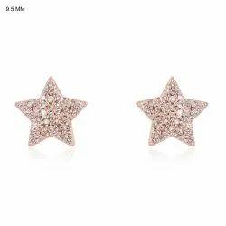 9K Rose Gold Diamond Star Stud Earrings