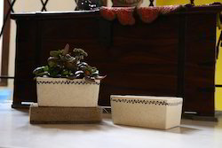 Ceramic Rectangular Black Painted Planter