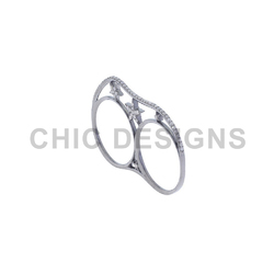 Diamond Silver Two Finger Ring