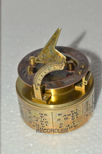 Maritime Compasses Copper Nautical Sundial Compass Brass Base With Leather Case Free Maritime