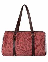 Hand Block Printed Floral Cotton Durrie Duffel Bag