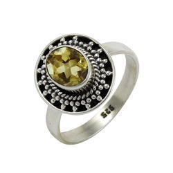 Big Natural Top 925 Sterling Silver Citrine Gemstone Ring