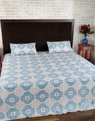 Cotton Coverlet Handmade Leaves Printed Luxury Bed Sheet