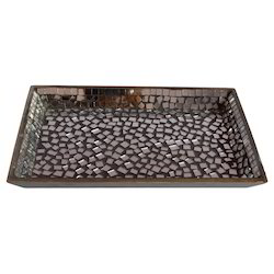 Wooden Tray With Mirror Work
