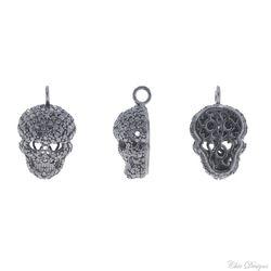Black Diamond Silver Skull Charm