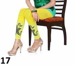 Yellow Printed Cotton Lycra Leggings
