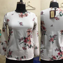Ladies White Printed Top