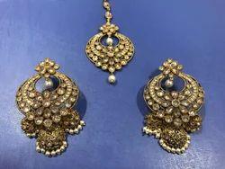 Wedding Mehandi Polish Earring Tikka Set
