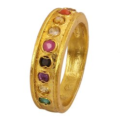 Unisex Navratan Brass Ring