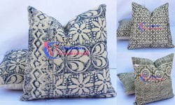Carpet Rug Cotton Indigo Hand Black Printed Cushions Cover