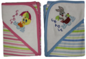 Baby Looney Tunes Hooded Towel With Stripes