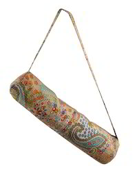 Cotton Paisley Screen Printed Kantha Work Yoga Mat Bag