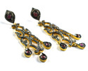 Pave Diamond Ruby Gemstone Sterling Silver Chandelier Earring