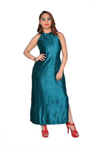 70f04f791c Ladies Dresses - Velvet Maxi Dress with Side Slits Manufacturer from ...