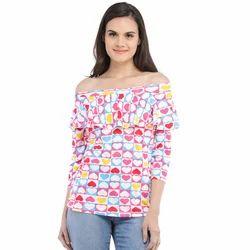Cottinfab Women's Printed Off Shoulder Top