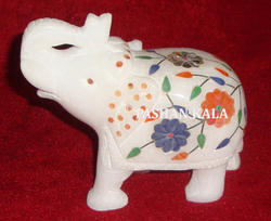 White Marble Elephant Statues