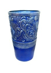 Blue Embroidered Planter