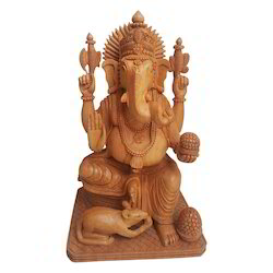 Fine Work Wooden Paoti Carving Ganesha Statue