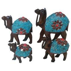 Wooden Camel Set With Stone Work