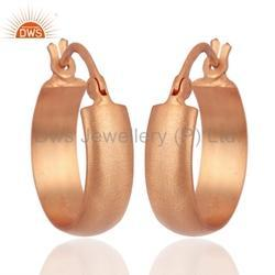 Rose Gold Plated 925 Silver Unisex Hoop Earrings Jewelry