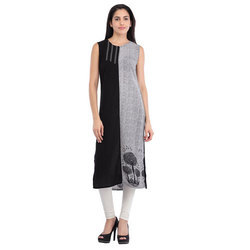 Cottinfab Women's Panel Printed Kurta
