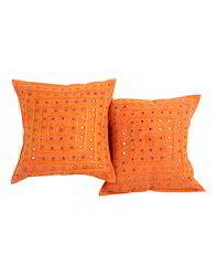Cotton Striped Mirror Lace Work Designer Cushion Cover