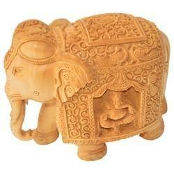 Wooden Elephant With Ganesha Work