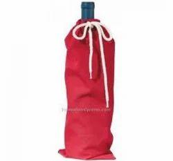 Single Bottle Cotton Drawstring Bottle Bag