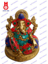 Lord Ganesh Sitting With 2 Pillow W/Stone Work Bead Statue