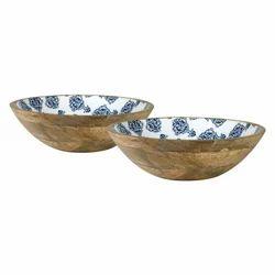 Wooden Bowl Set with Digital Print, Enamel