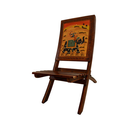 Merveilleux Wooden Decorative Products   Rajasthani Painting Wooden Folding Chair  Wholesale Trader From Kolkata
