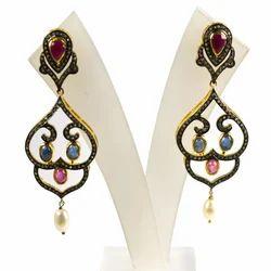 Pave Diamond Precious Gemstone 925 Sterling Silver Earring