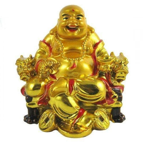 Laughing Buddha Golden And Red Feng Shui Laughing Buddha