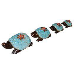 Wooden Tortoise Set With Chamki Work