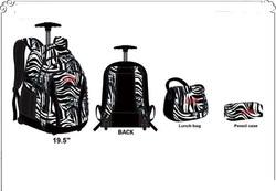 Kids School Trolley Backpack White/ Black Color