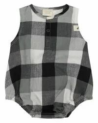 Organic Checked Baby Rompers