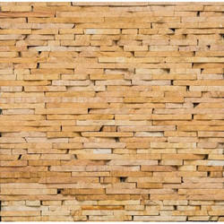 Teak Random Strip Pattern Wall Cladding
