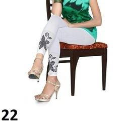 White Printed Cotton Lycra Leggings
