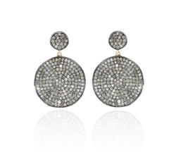 Pave Diamond Round Disc Earrings