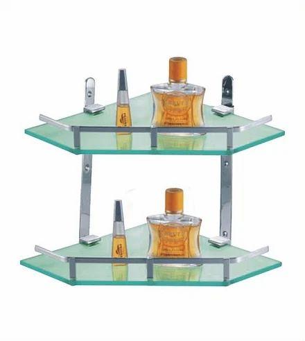 Cubix Double Glass Corner Shelves