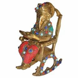 Brass Chair Ganesha With Stone Work