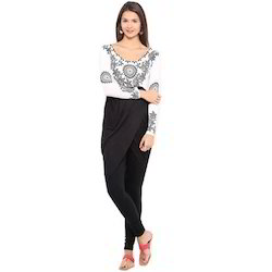 Ira Soleil White & Black Printed Viscose Knitted Stretchable