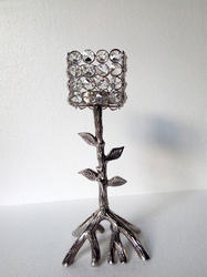 Aluminium Crystal Tree Candle Holder