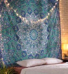 Mandala Leaves Printed Blue Bohemain Cotton Wall Tapestries