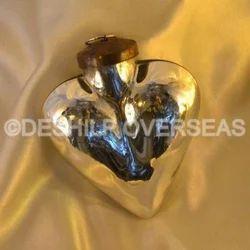 Heart Shape Silver Christmas Ball